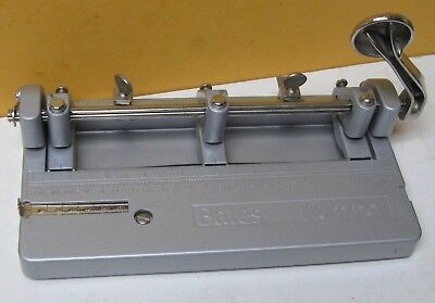 Bates Hummer Heavy Duty Adjustable 3 Hole Punch Clean Complete Ready