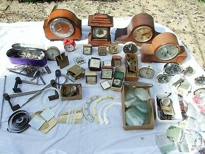 Huge job lot for the clock maker - chime strike alarm clocks, glasses, parts etc