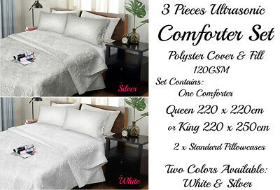 3 Piece Ultrasonic Comforter Coverlet Bedspread Set Quilt Queen King Size Bed