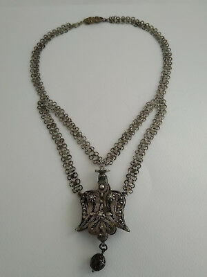 Antique Rare Beautiful Ottoman Turkish Filigree Silver Chain Necklace Amulet