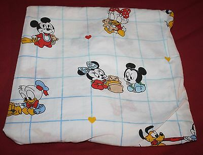 Disney Babies Fitted Crib Sheet MICKEY MINNIE MOUSE Dundee 80s Vtg Daisy Heart