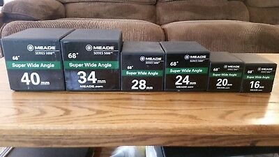Complete set of Meade series 5000 Super Wide Angle eyepieces, SWA