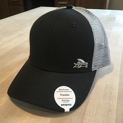 Patagonia Small Flying Fish Trucker Hat New With Tags - Black With Drifter  Grey b5db0ce3131e
