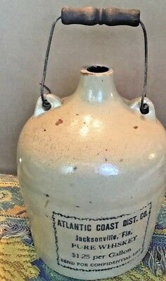 1 Gallon Atlantic Coast Dist Whiskey Stoneware Advertising Crock Jug Florida (KS