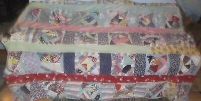 """Antique 4 pointed star hand pieced quilt top feed sacks 62"""" x 78"""""""