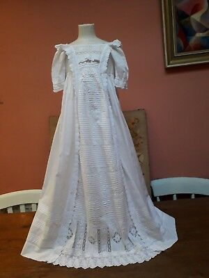Vintage Christening Gown Baby Dress Antique Hand Embroidery Lace White Cotton