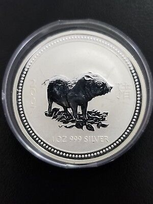 2007 Australia Silver Year of the Pig Perth Mint 1 oz Series 1 w/Capsule