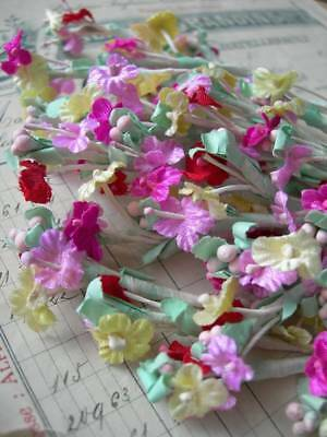 36 stems vintage French tiny fabric flowers for doll projects (D)