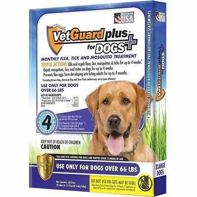 NEW VetGuard Plus for Dogs 66 lbs or Over Flea Tick Mosquito 4 months / X-LARGE