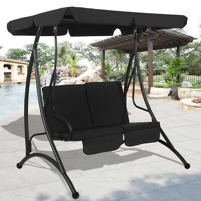 2 Person Canopy Swing Chair Patio Hammock Seat Cushioned Furniture Steel 3 Color