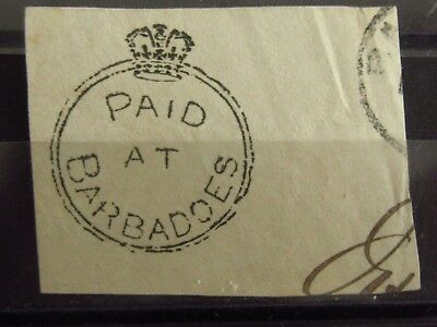 BARBADOS British Colonies - Old PAID Stamp - Used - VF - r23e6355