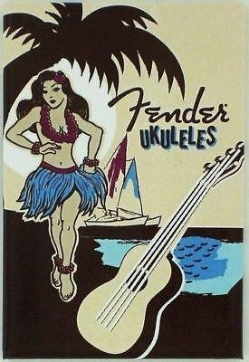 "Genuine Fender Ukuleles Hula Girl Magnet - Model #9100322000 - 2"" x 3"""