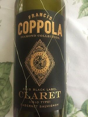 Francis Coppola Black Label Empty Claret Wine Bottle