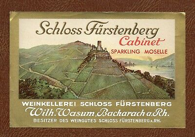 c. 1930's SCHLOSS FURSTENBERG Moselle German WINE Lithographed LABEL