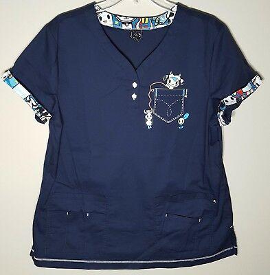 2100875731662 KOI WOMENS SCRUB top size large women with feather - $36.00 | PicClick