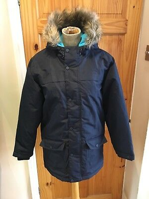 Boys Jacket Size 13-14yrs By Bluezoo Navy Blue Hood Lightly Padded Casual School