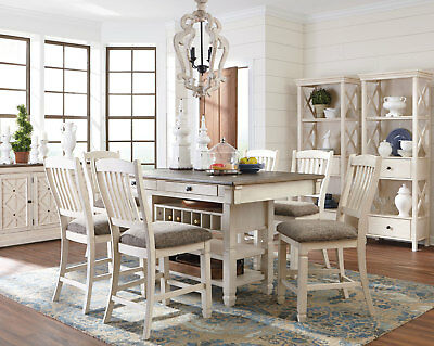 PALERMO 7 pieces Rectangular White Counter Height Dining Room Table & Chairs Set
