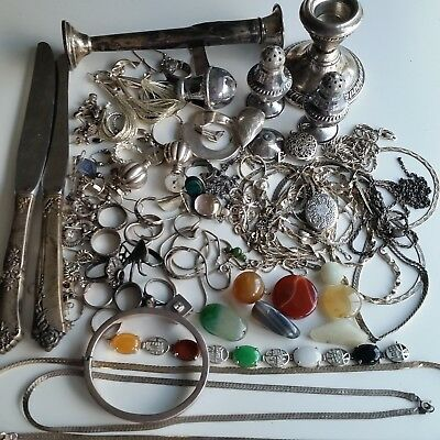 Big Lot of Sterling Silver 925 Repair Scrap Jewelry Stones Candle Holder Knife