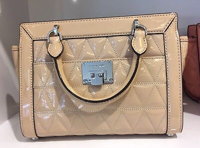 bc501e02c140 Michael Kors Vivianne Quilted SM TZ Patent Leather Messenger Bag ( Oyster )  NWT