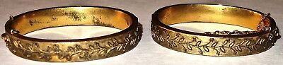 "LOT of TWO (2) VICTORIAN Antique 6"" HINGED BANGLE BRACELETS~LOT #10! NR!"