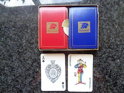National Benzole Fuel Blue & Red Playing Cards - 2 Sets Boxed - VGC - Waddington