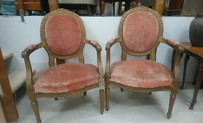 Antique 19th Century French carved gilt frame fauteuil salon armchairs pair