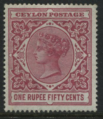 Ceylon QV 1900 1 rupee 50 cents carmine rose unused no gum