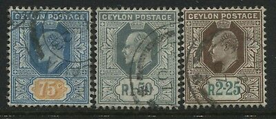 Ceylon KEVII 1904-05 75 cents, 1 rupee 50 cents, 2 rupees 25 cents used