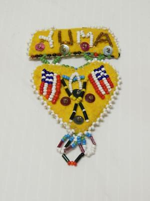 Vintage Yuma Indian Beaded Wool Pin Patriotic Usa Flag Design - Old + Xlnt Cond!