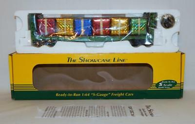 S Helper Service 01728 Christmas Bulkhead Flatcar +presents Burlington Northern