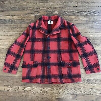 1930s 1940s Plaid Wool Red Black Jacket Hunting Coat Work Wear The Bay