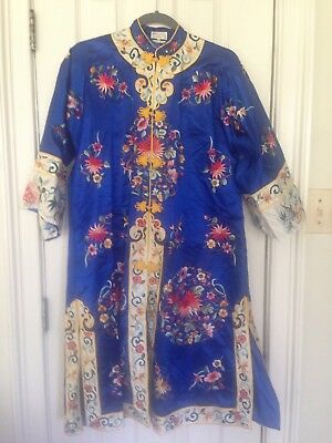 oriental, chinese Coat Very Decorative Blue with extensive embroidery