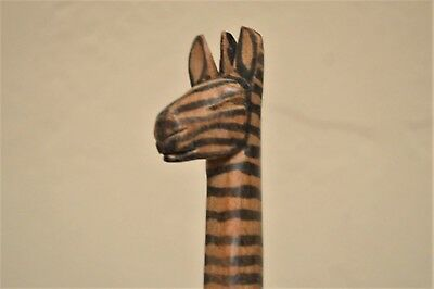 African wood  salad servers ZEBRA wooden African spoon fork
