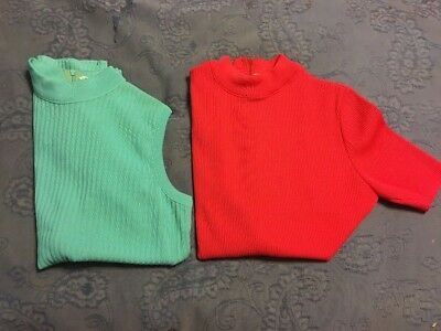 Vintage Dalton Crew Neck Lot Of Two Shirts With Zipper in Back Of Neck