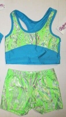 NEW Crop Top Shorts Set Size 10 MC LC Child Lot of 2 Dance Jazz Cheer Gymnastics