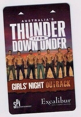 EXCALIBUR Thunder from Down Under LAS VEGAS Casino ROOM KEY Girls' Night Outback