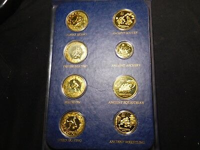 S102 China PRC 1980 Jinhuang Copper/Brass Olympic 8 Coin Proof Set