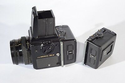 Bronica SQ-B, with waist level finder, 80MM lens, hand crank, 120 120J backs.