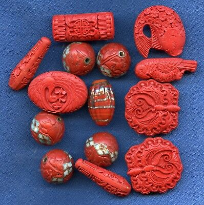 Lot of vintage Cinnabar Beads with Enamel Flowers from necklace