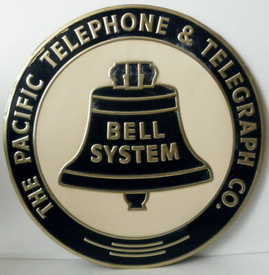 c1920s The Pacific Telephone & Telegraph CO. Bell System embossed tin litho sign