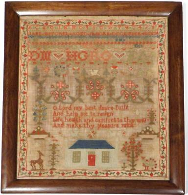 SCOTTISH HOUSE SAMPLER * Jane MITCHEL Gives Age *Birth Year1830* Family Initials