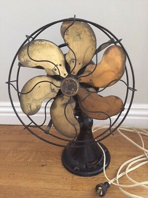 """Antique Brass 6 Blade And Cage Oscillating 3 Speed Fan 13"""" Cage. Emerson 24666"""