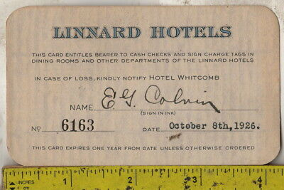 1926 paper credit card from Linnard Hotels Hotel Whitcomb San Francisco Fairmont