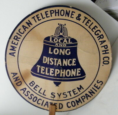 c1920s American Telephone & Telegraph CO. Local & Long Distance Cardboard Sign