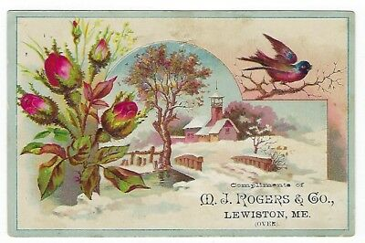Rogers Inhalant & Cough Lozenges late 1800's medicine trade card - Lewiston, ME