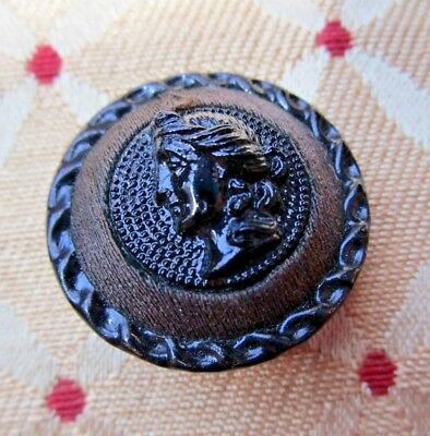"""5866-sz – 3-Materials Metal 1800s Button, Thread & Black Glass Cameo OME, 1"""""""