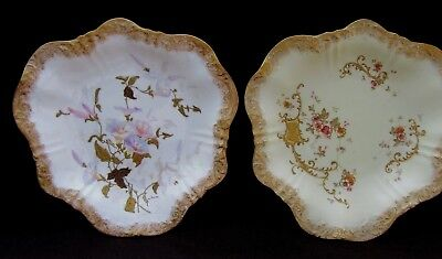 2 Antique Unusual Shape Pointons Stoke on Trent Plates England Morning Glories