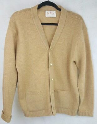 Vintage Jantzen Mens Tan Grandpa Cardigan Sweater Large