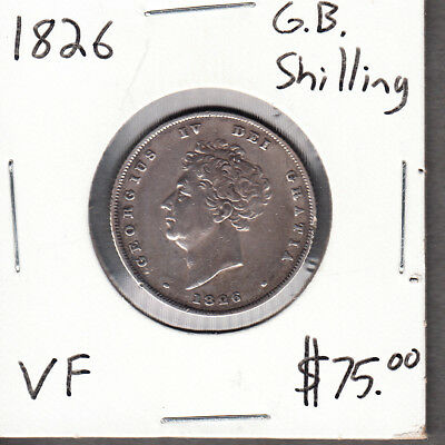 1826 Great Britain - Shilling - Very Fine - George IV - AA10 -