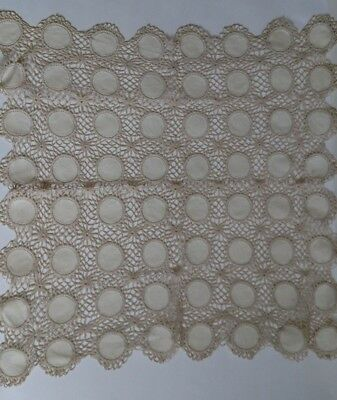 Ecru Vintage Hand Crochet Lace Doily Square Table Runner 24 x 24 inches